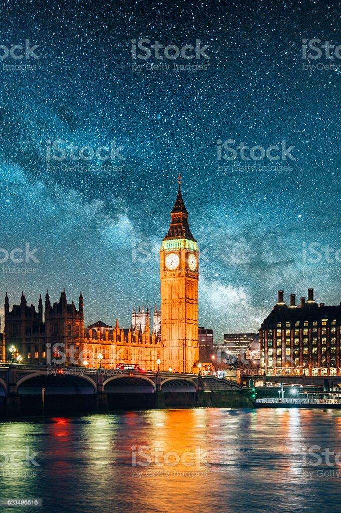 London under the stars stock photo