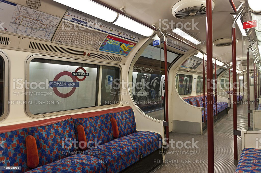 London underground empty tube carriage Charing Cross stock photo