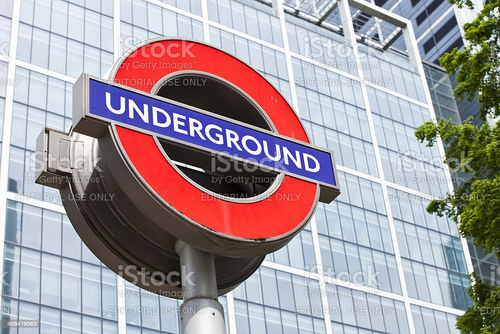 London Underground famous sign in Canary Wharf stock photo