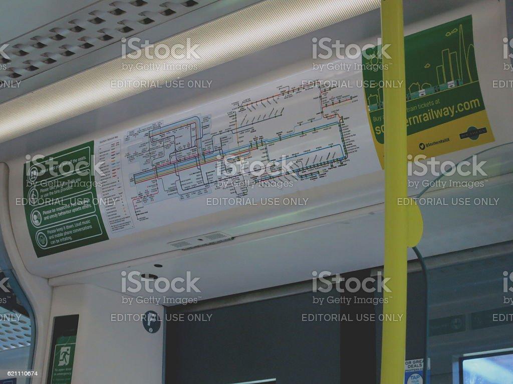 London underground map in subway train stock photo