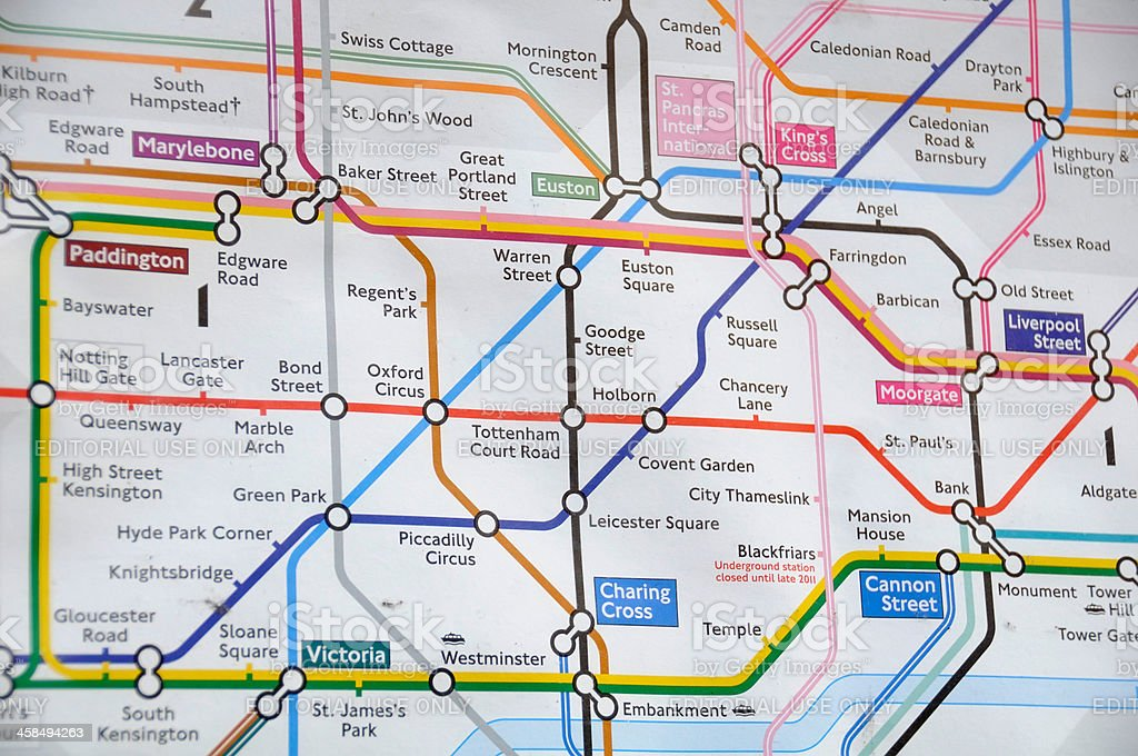 London Underground Map royalty-free stock photo