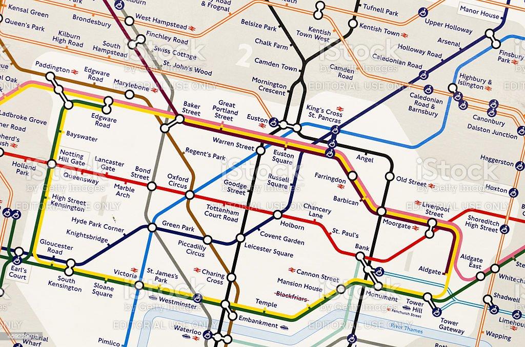 London Underground Map - Subway metro station stock photo
