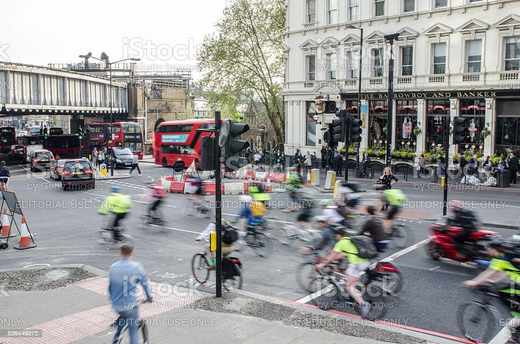 London urban street scene - Tooley and London Bridge Rd stock photo