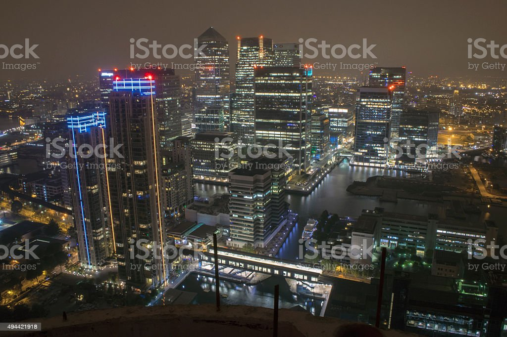 London views, 44 floors high - Isle of dogs, London stock photo