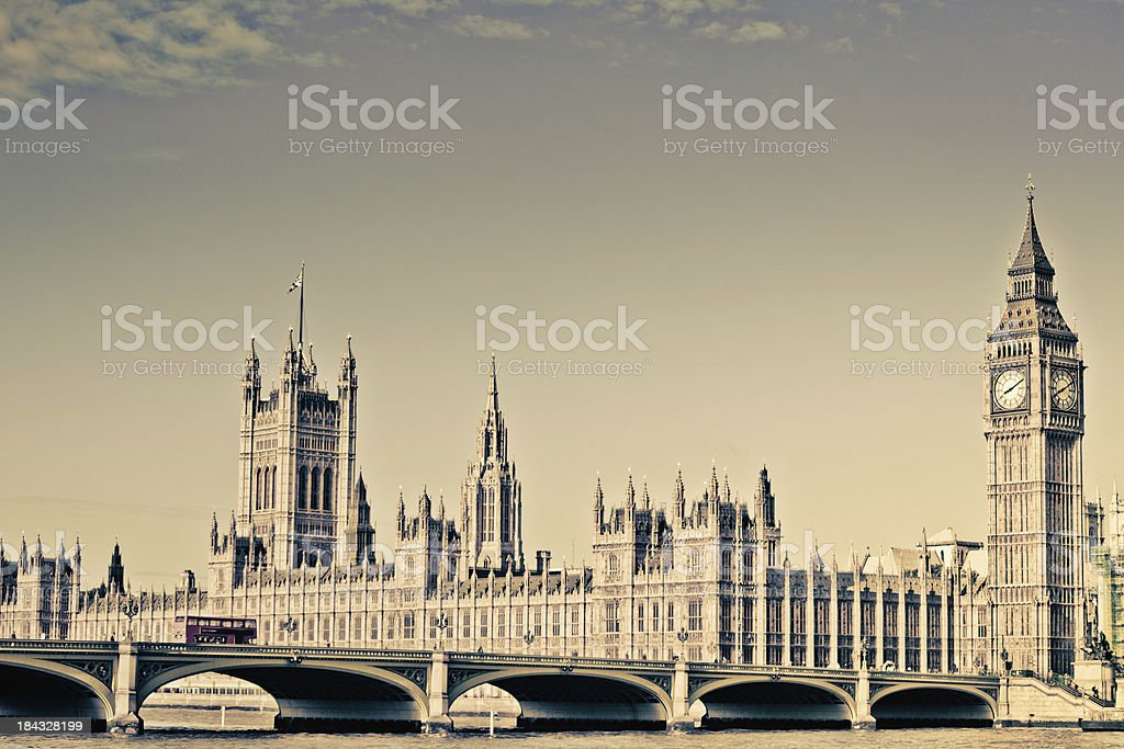 London Vintage, Big Ben and House of Parliament royalty-free stock photo