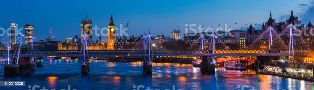 London Waterloo sunset over River Thames Big Ben Westminster panorama stock photo