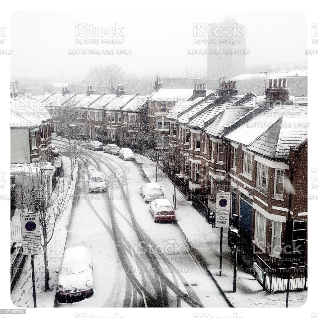 London weather: Snow in the suburbs royalty-free stock photo