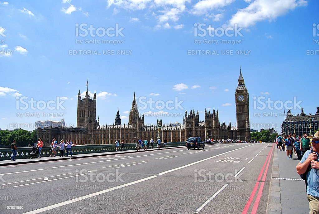 London Westminister bridge and Big Ben stock photo