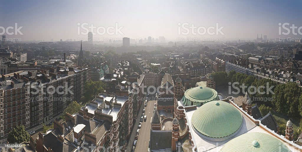London Westminster Chelsea rooftop cityscape panorama apartment buildings Battersea UK stock photo