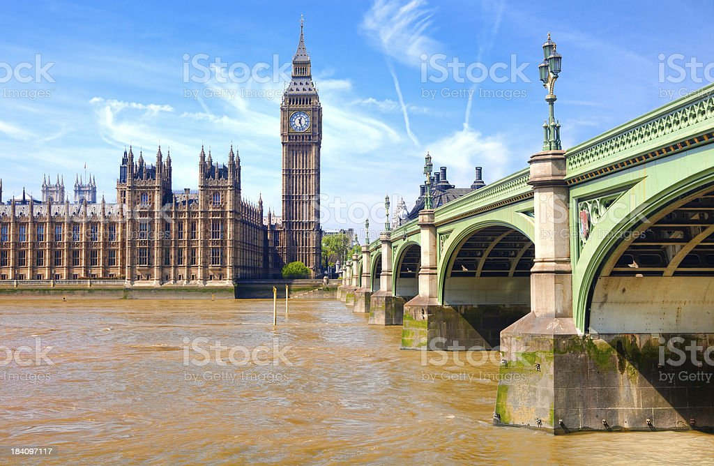 London westminster houses of parliament and bridge on river tham royalty-free stock photo