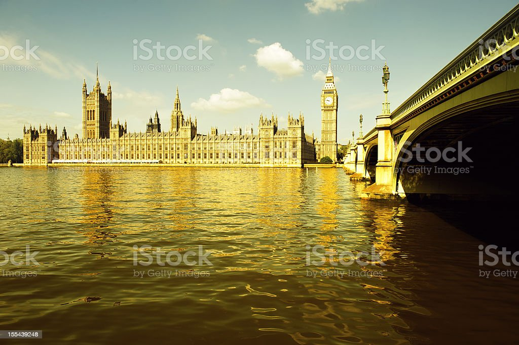 London Westminster Palace Big Ben Golden River Thames royalty-free stock photo