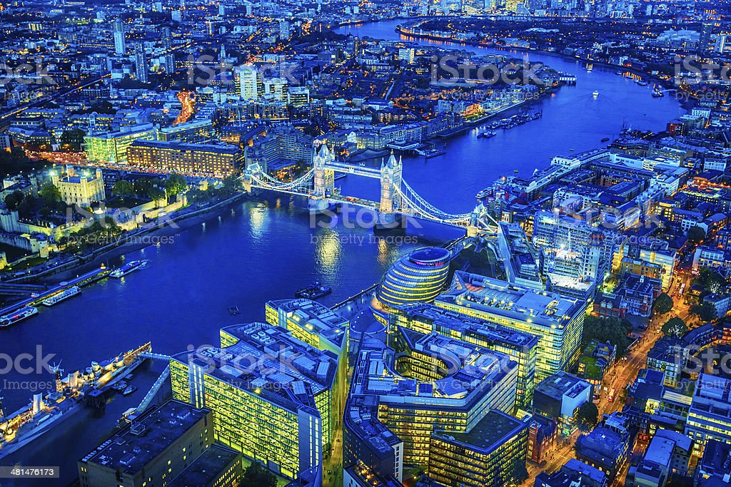 London with famous Tower Bridge over river Thames at dusk stock photo