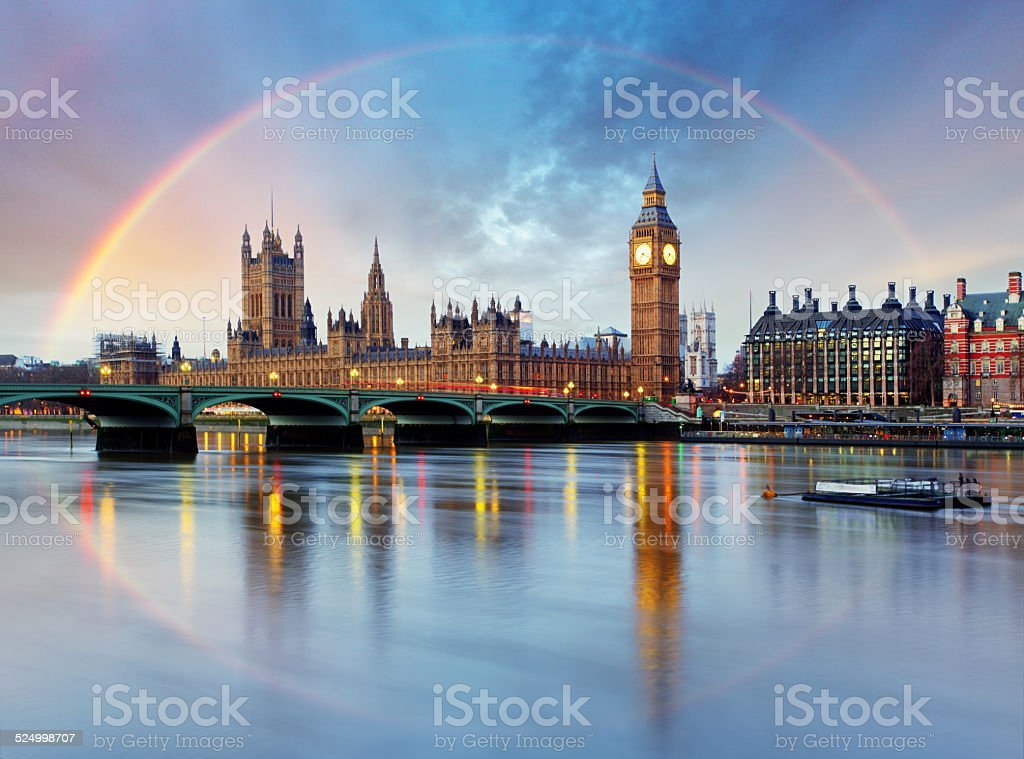 London with rainbow - Houses of parliament - Big ben. stock photo