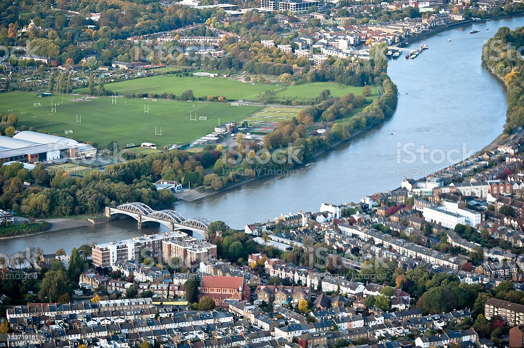 London with Thames River, aerial view stock photo