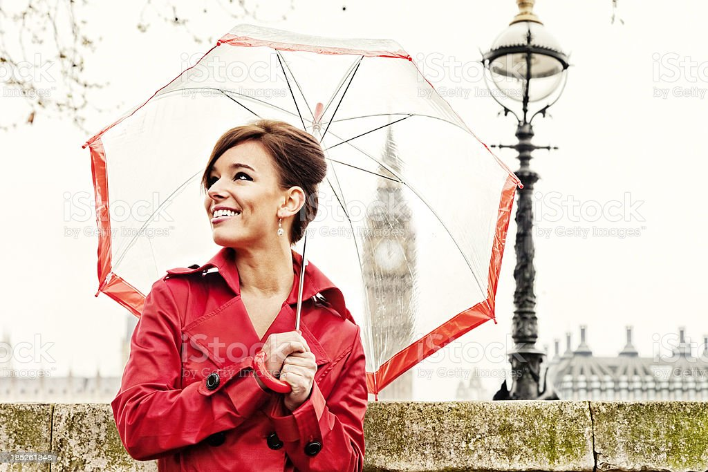 London Woman in Red with Umbrella royalty-free stock photo