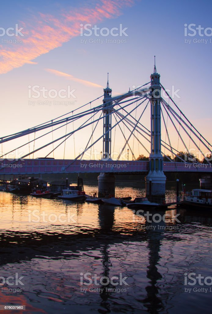 London's Albert Bridge At Dawn stock photo