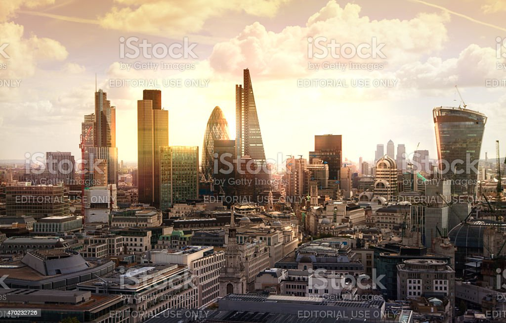 London's panorama on City office building stock photo