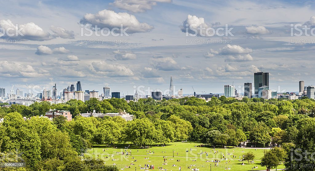 London's skyline from Primrose Hill stock photo
