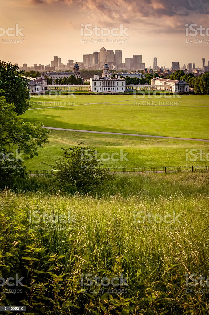 London's skyline seen from Greenwich park stock photo