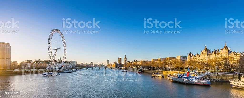 London's skyline view at sunrise with famous landmarks stock photo