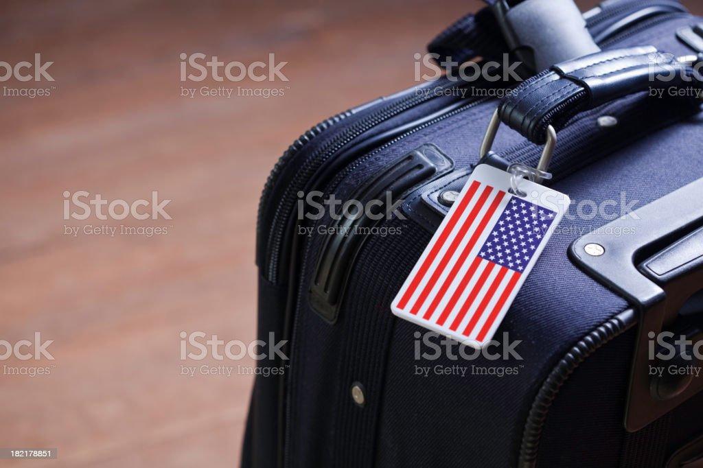 Lone American Suitcase stock photo