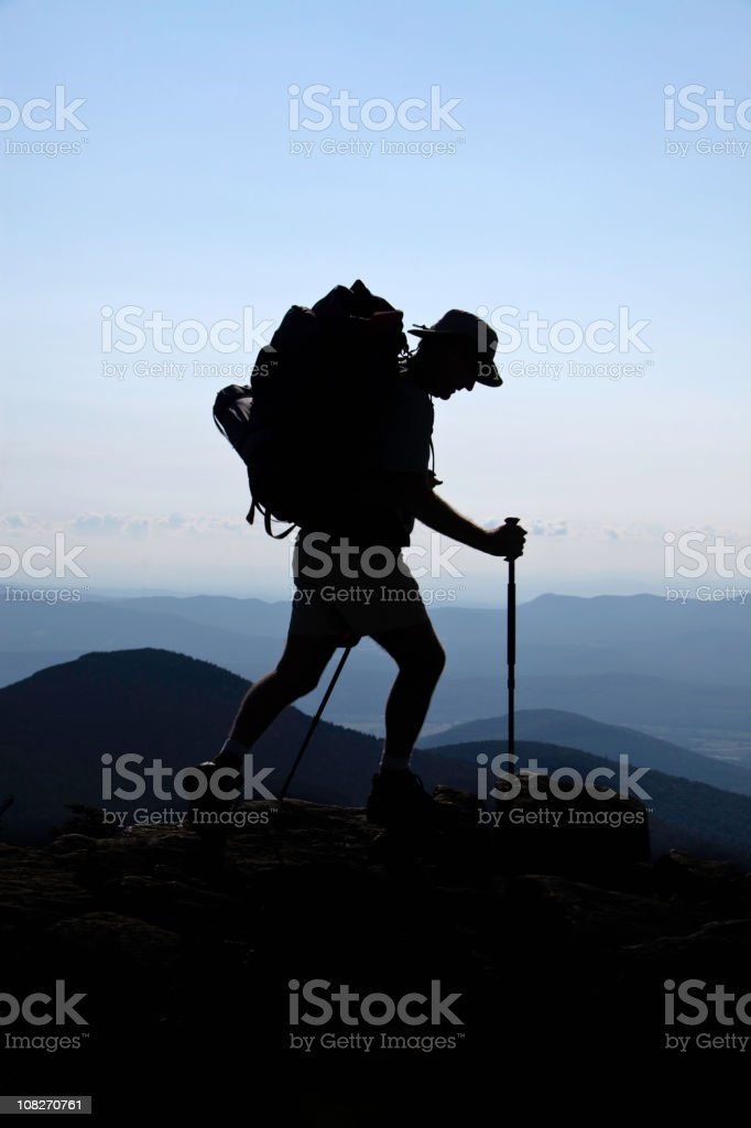 Lone Backpacker Hiker Vertical royalty-free stock photo