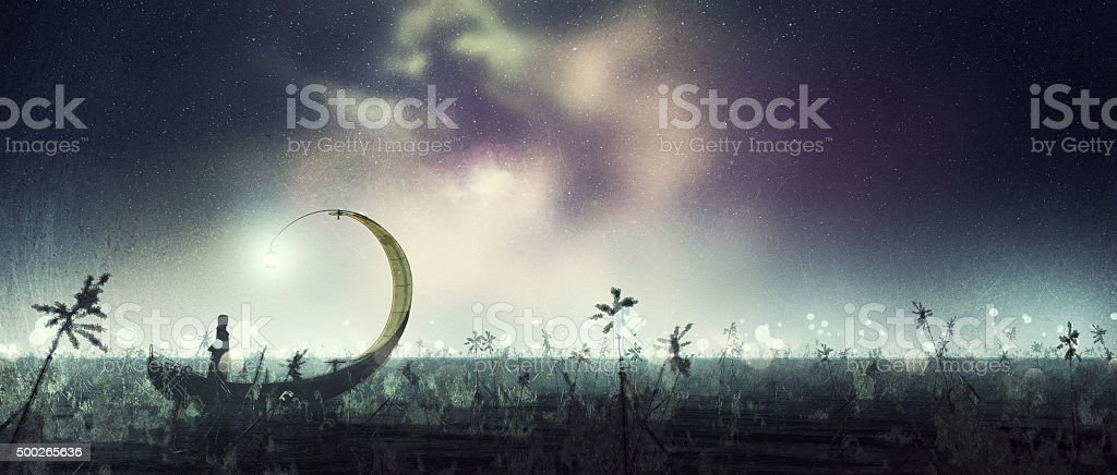 Lone boat under a magic night sky stock photo