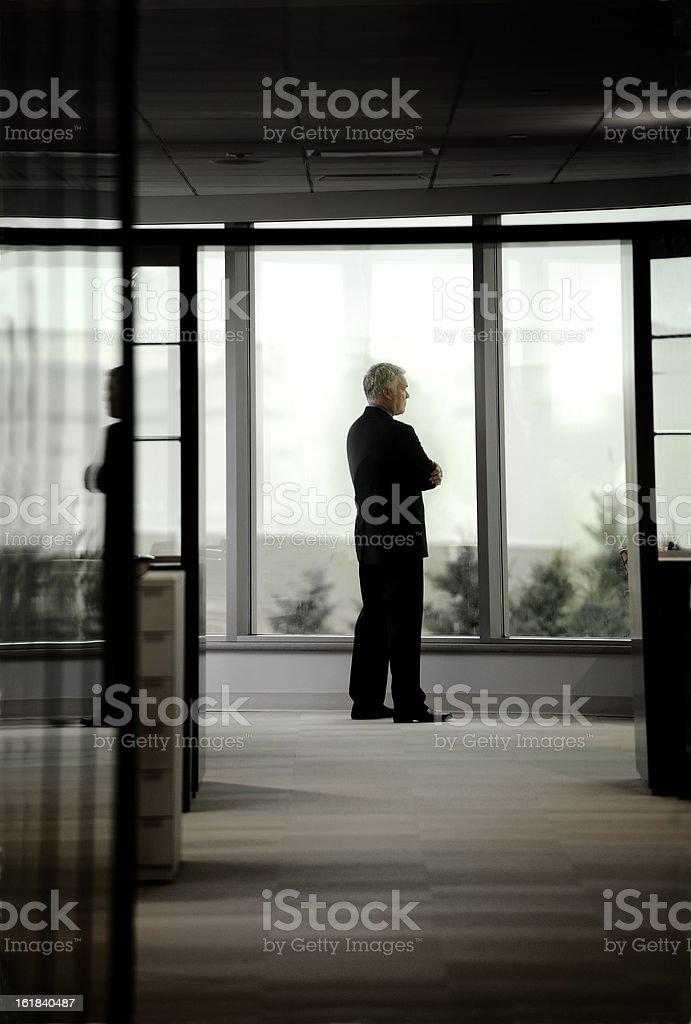 Lone Businessman Thinking royalty-free stock photo