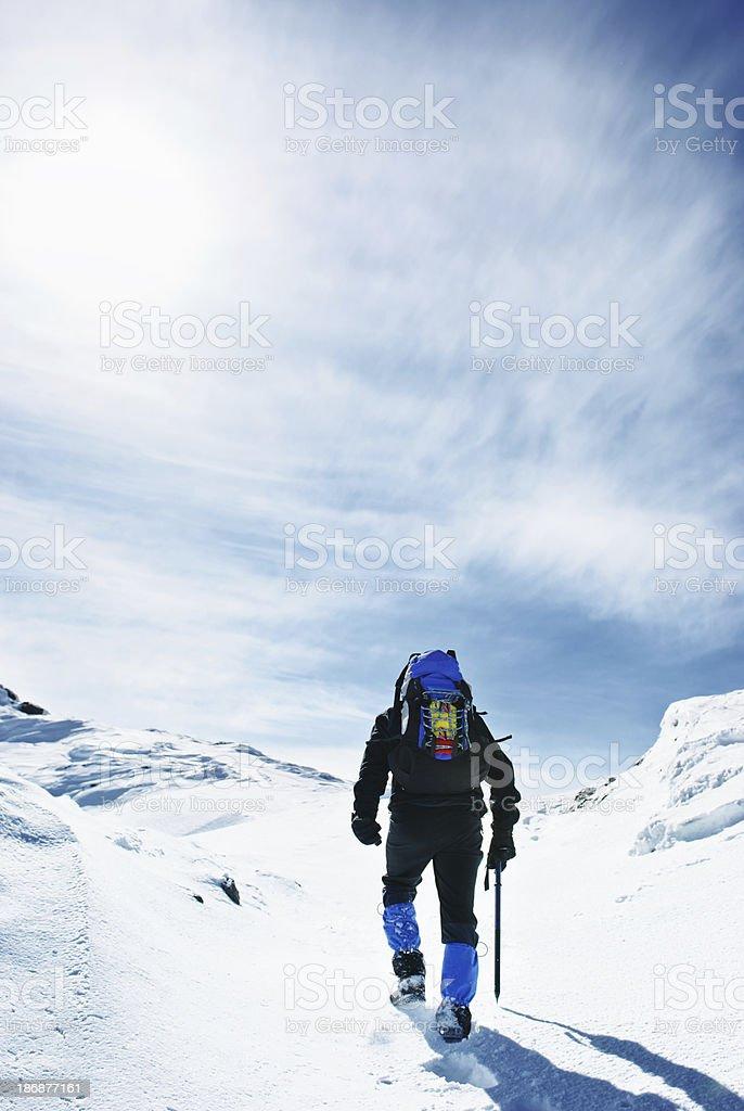 Lone climber on Alpine slope royalty-free stock photo