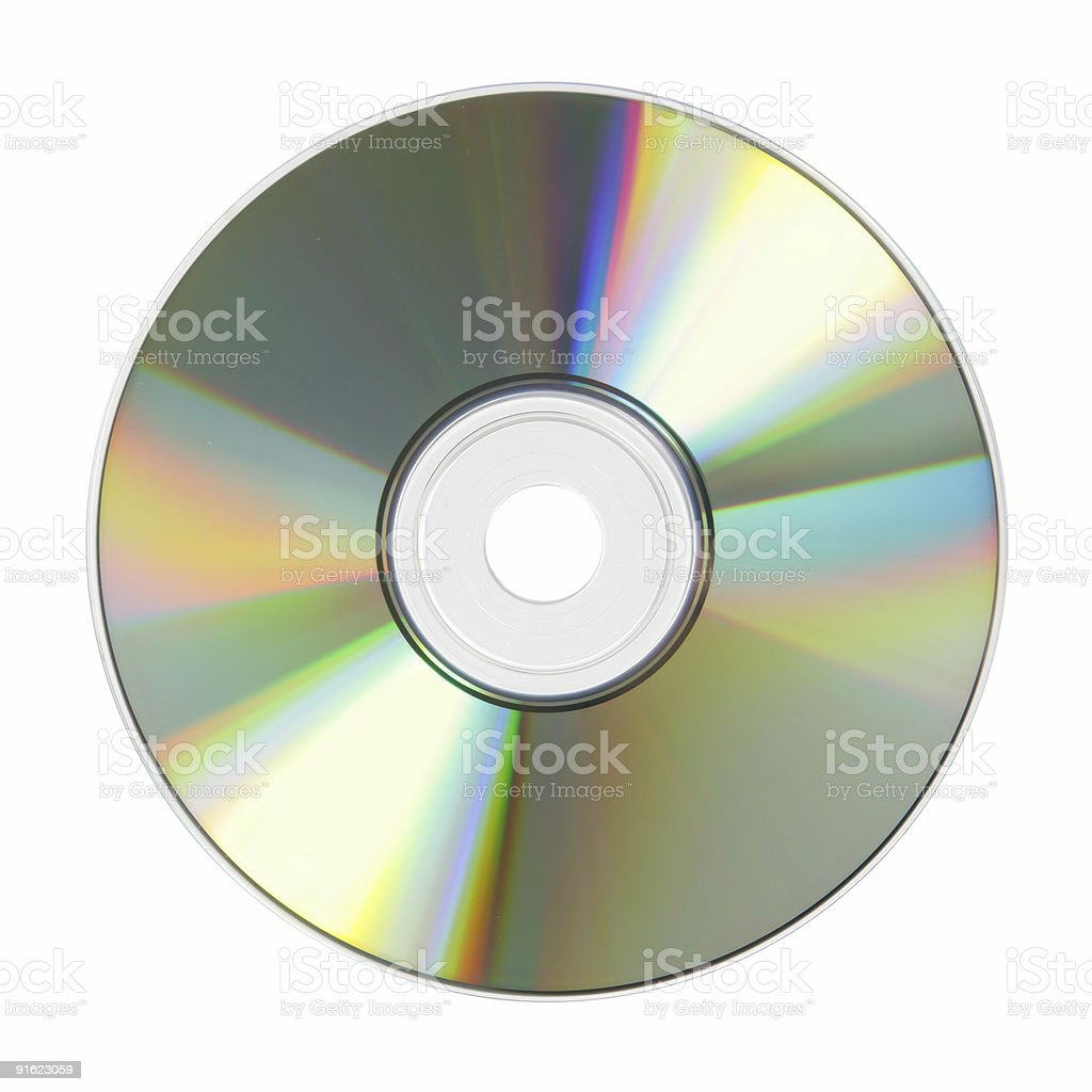 Lone compact disc on white background stock photo
