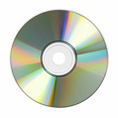 Lone compact disc on white background