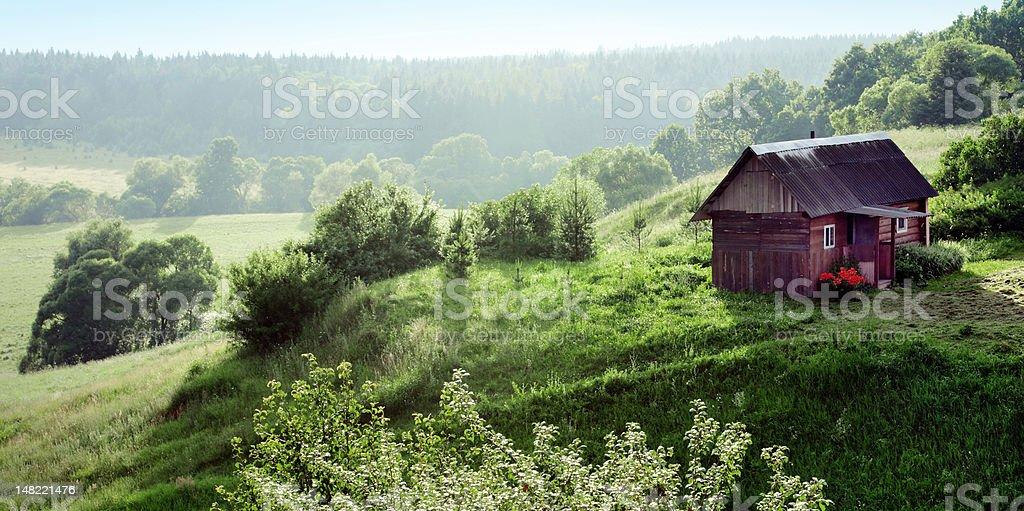 Lone country house in idyllic forest stock photo