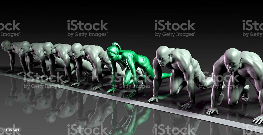 Lone Female Competing Against Males stock photo