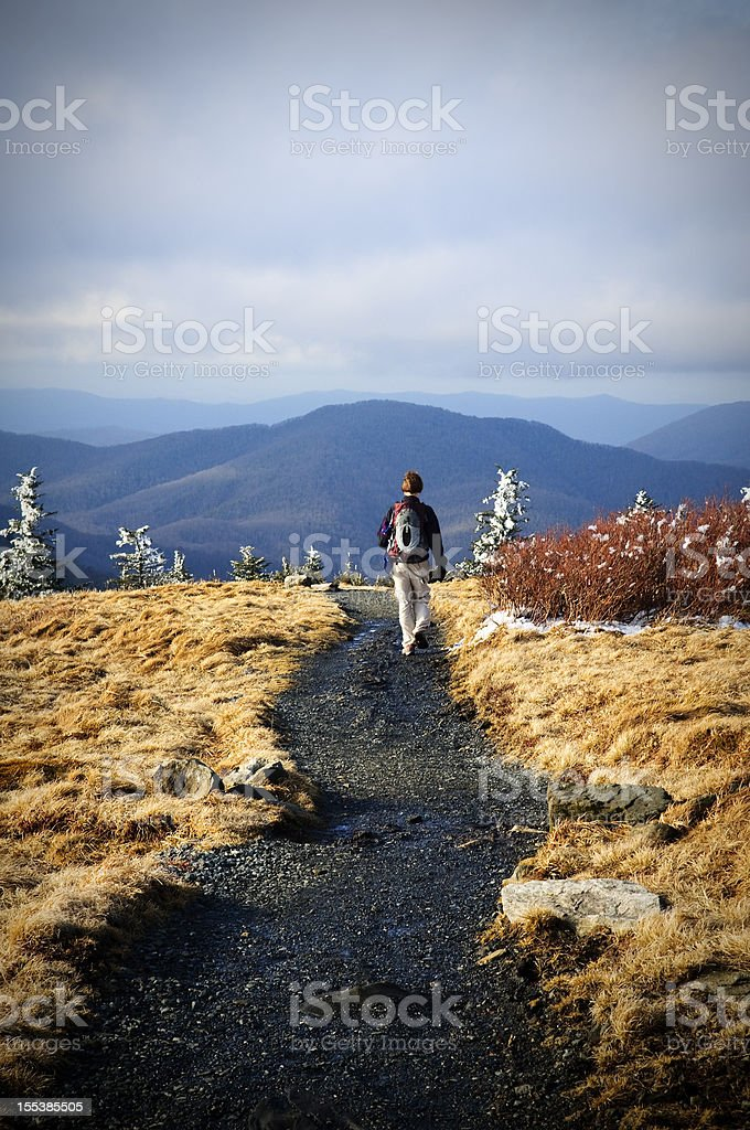 Lone female hiker on Roan Mountain section of Appalachian Trail stock photo