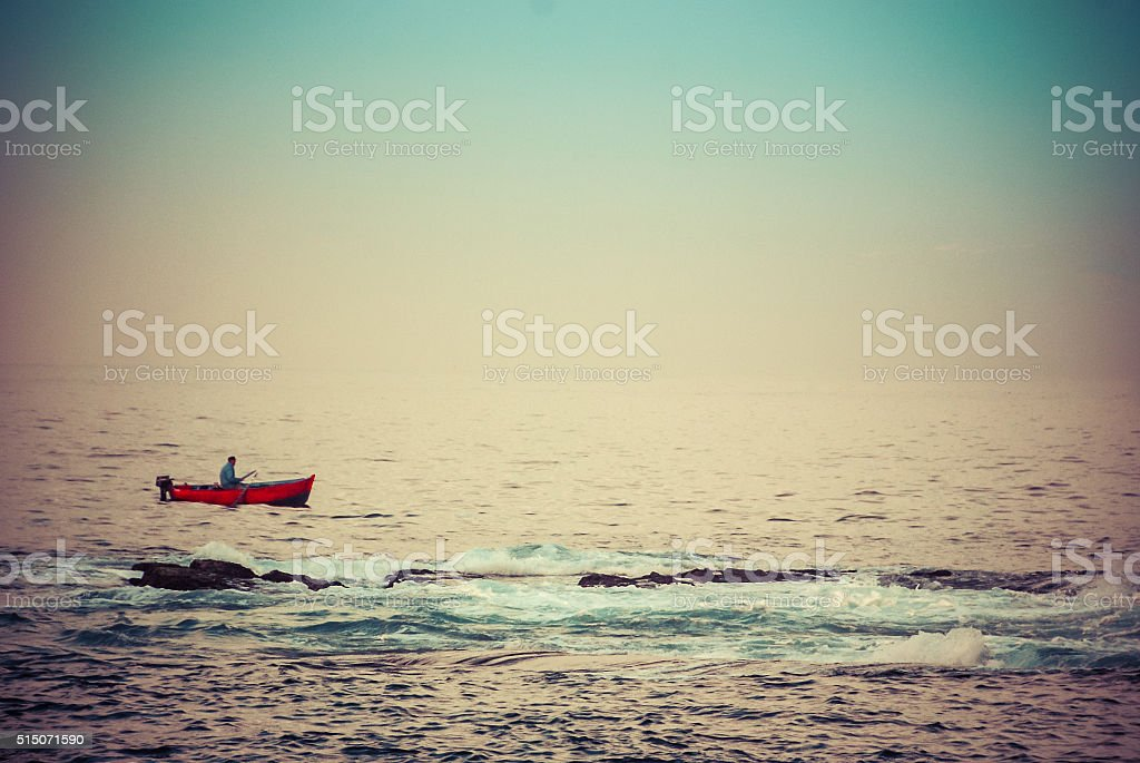 Lone Fisherman stock photo