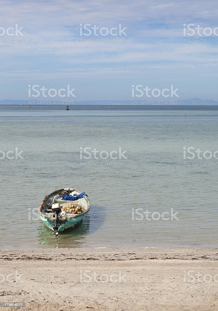 Lone Fishing boat in LaPaz stock photo