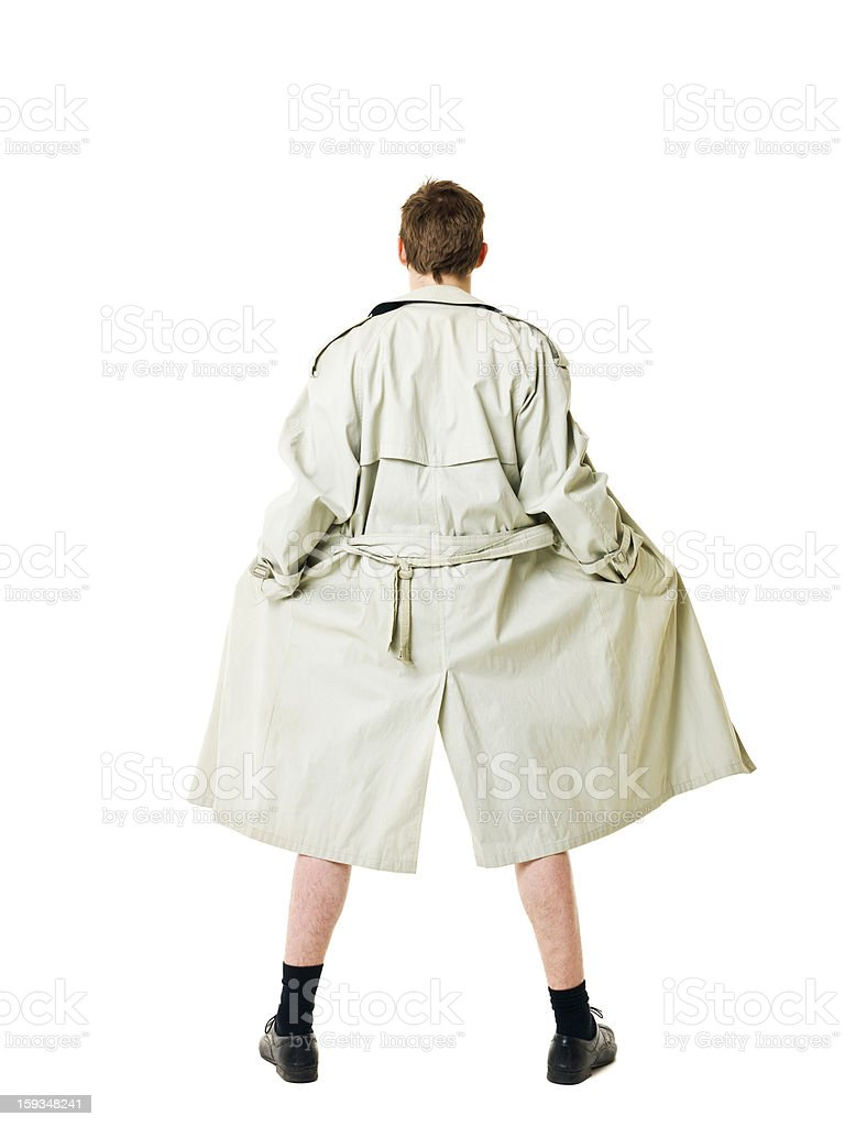 Lone flasher in a khaki trench coat stock photo