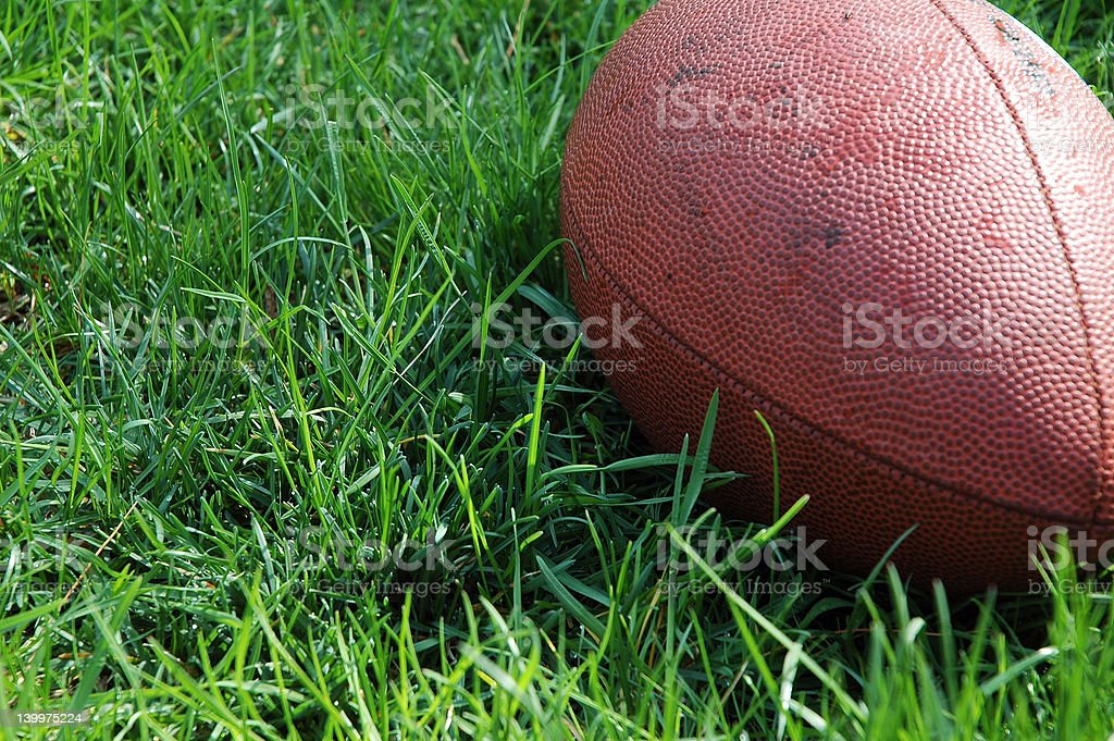 Lone Football Lays in Grass royalty-free stock photo