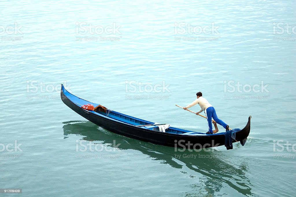 Lone Gondolier royalty-free stock photo