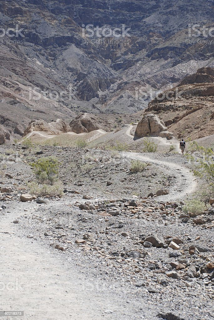 Lone Hiker in Death Valley royalty-free stock photo