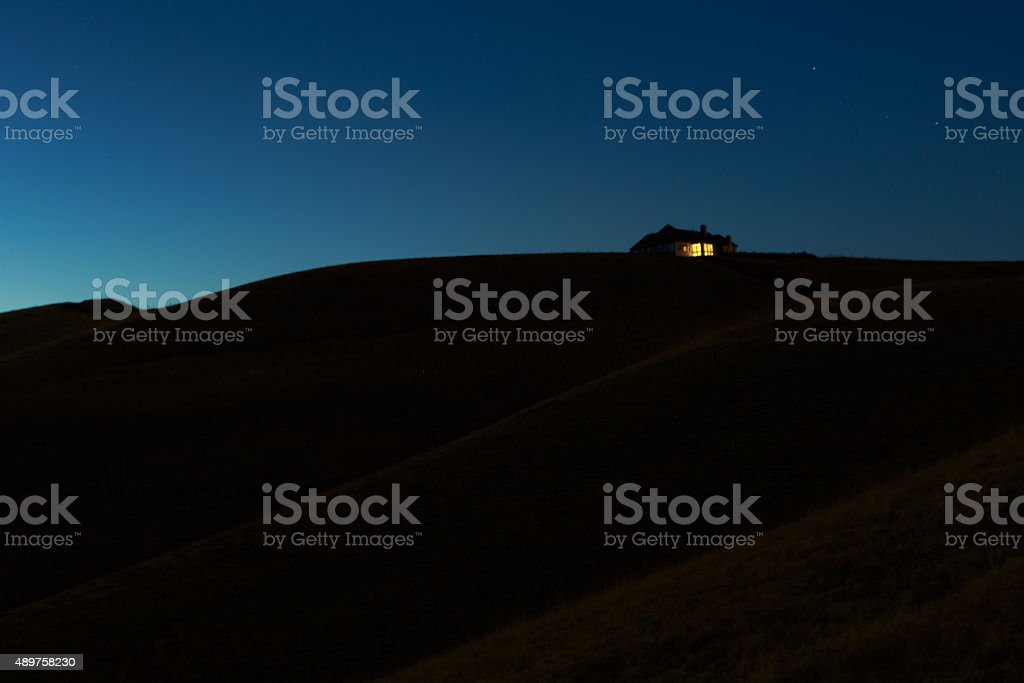 Lone Hilltop House stock photo