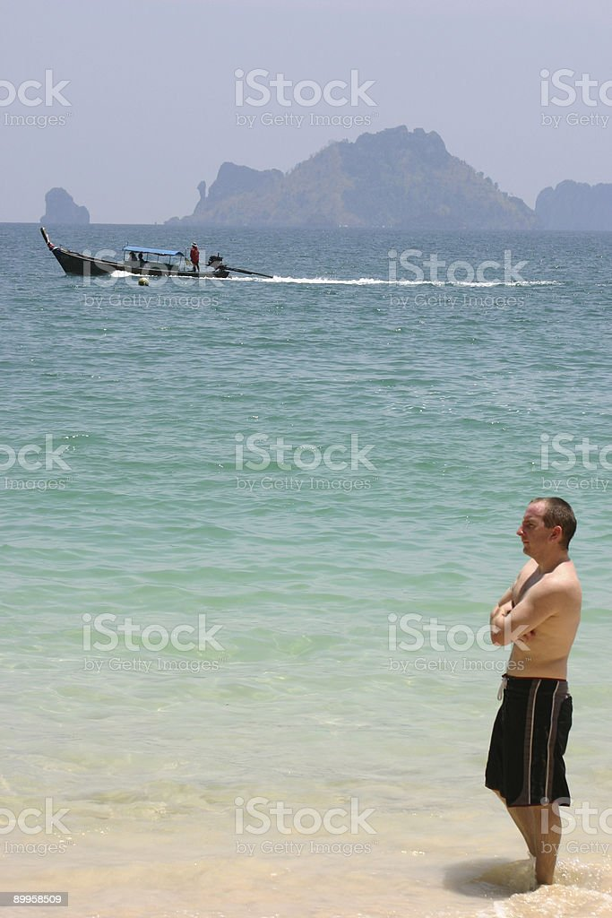 lone man of the beach royalty-free stock photo