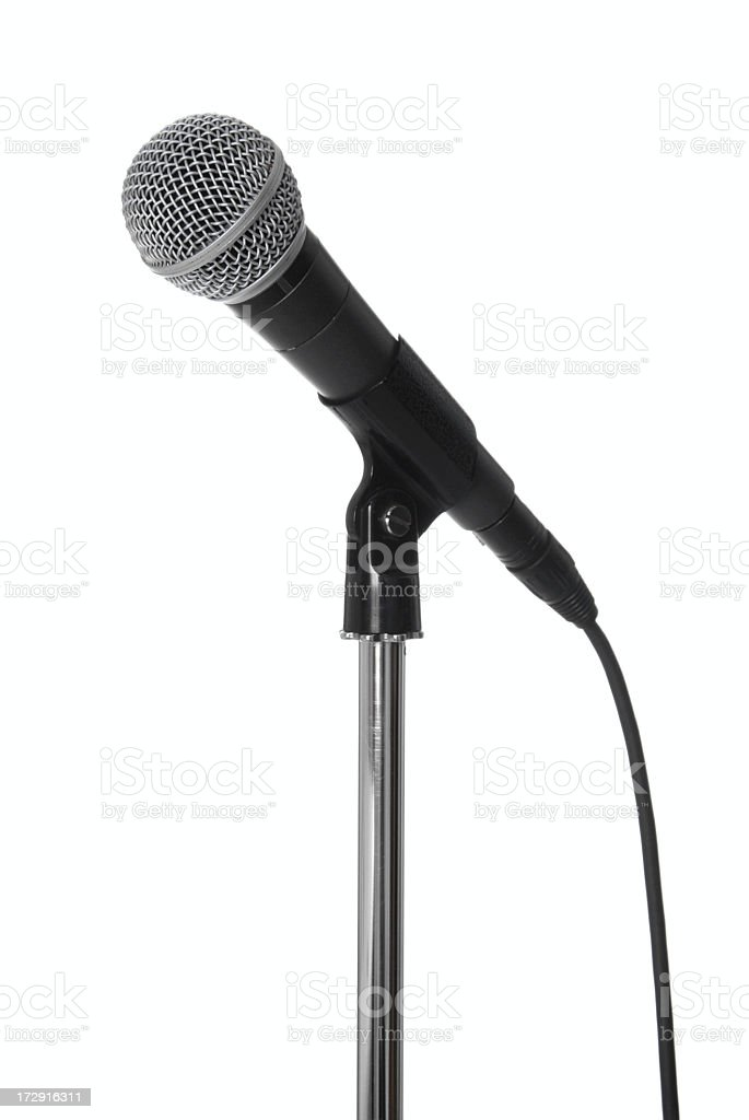 Lone microphone on stand on white stock photo