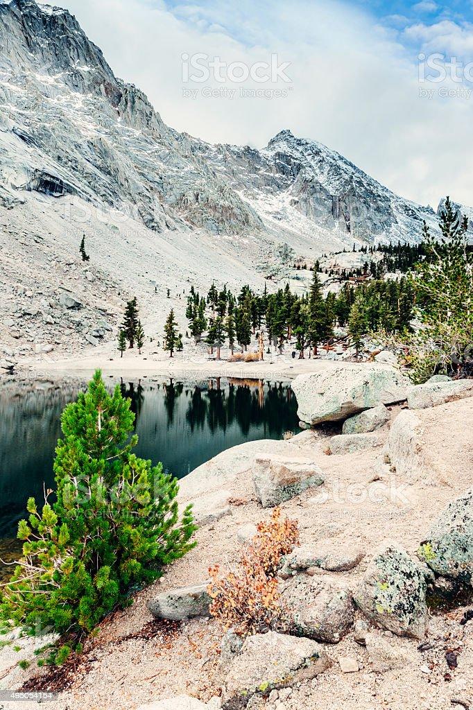 Lone Pine Lake on Mt Whitney trail. stock photo