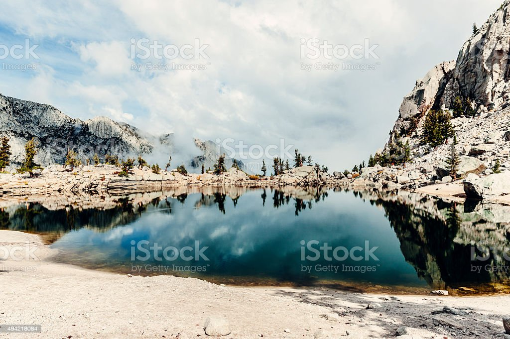 Lone Pine Lake on the Mt Whitney trail. stock photo
