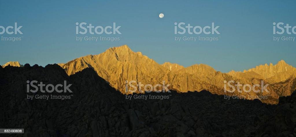 Lone Pine Peak Moon stock photo