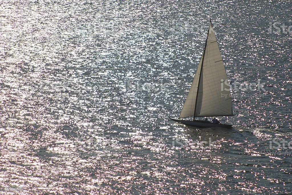 Lone Sailboat 7 royalty-free stock photo