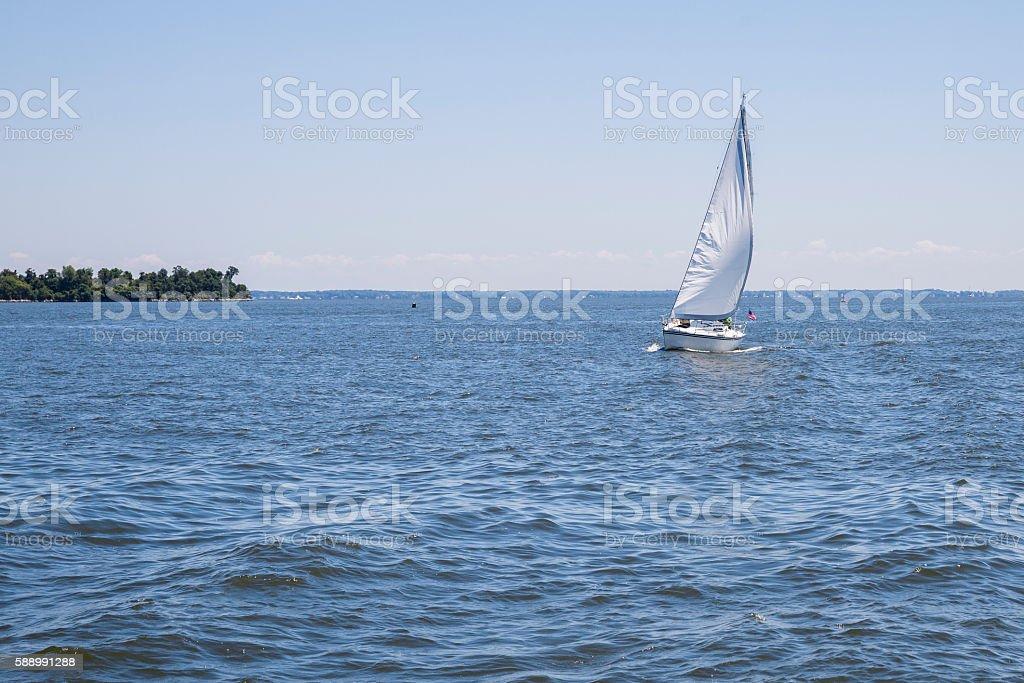 Lone Sailboat on the Chesapeake Bay stock photo