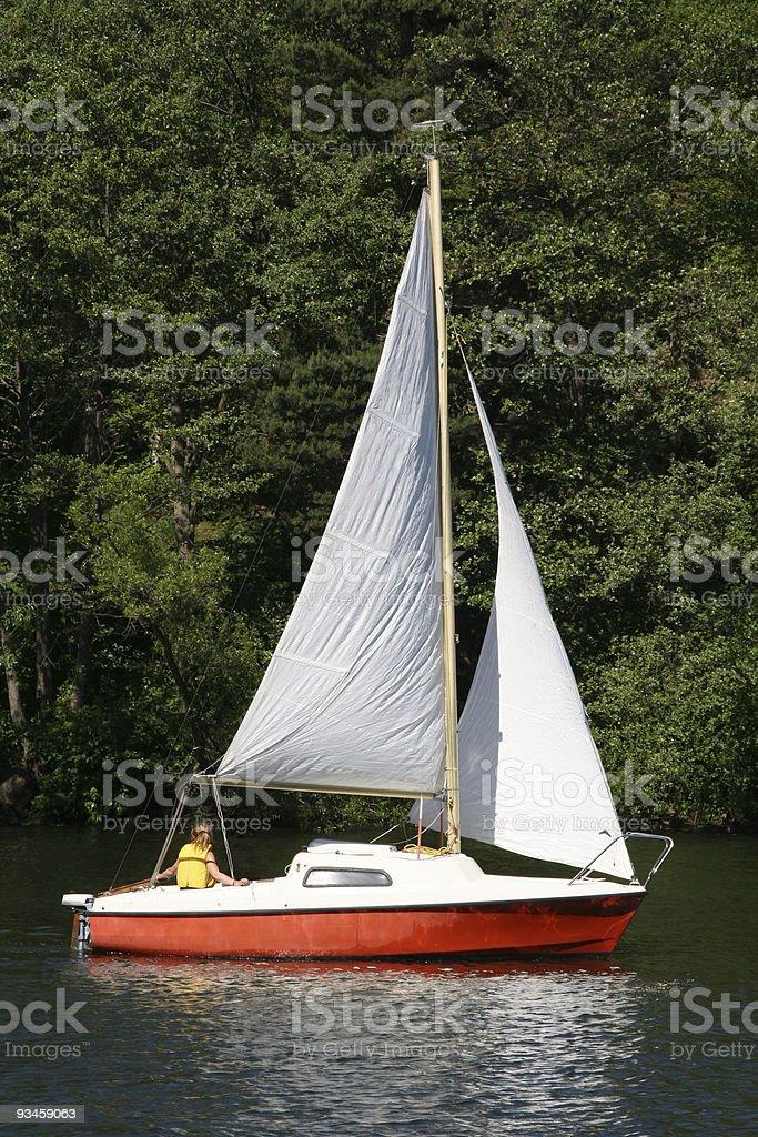 Lone sailing royalty-free stock photo