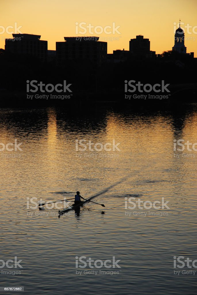 Lone Sculler stock photo